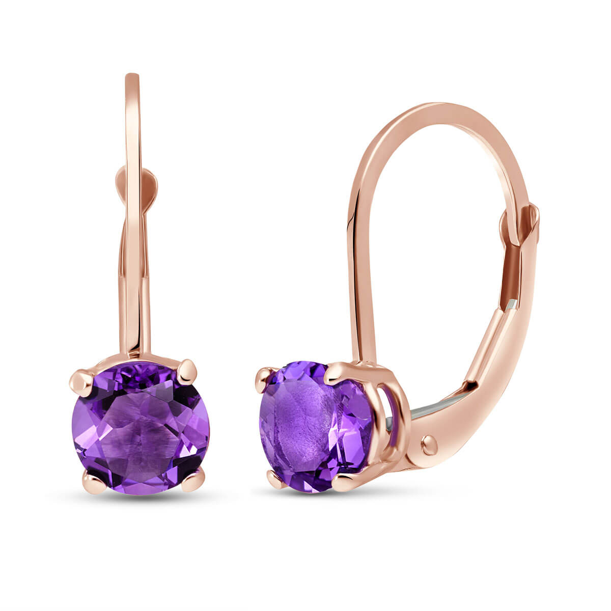 Amethyst Boston Drop Earrings 1.2 ctw in 9ct Rose Gold