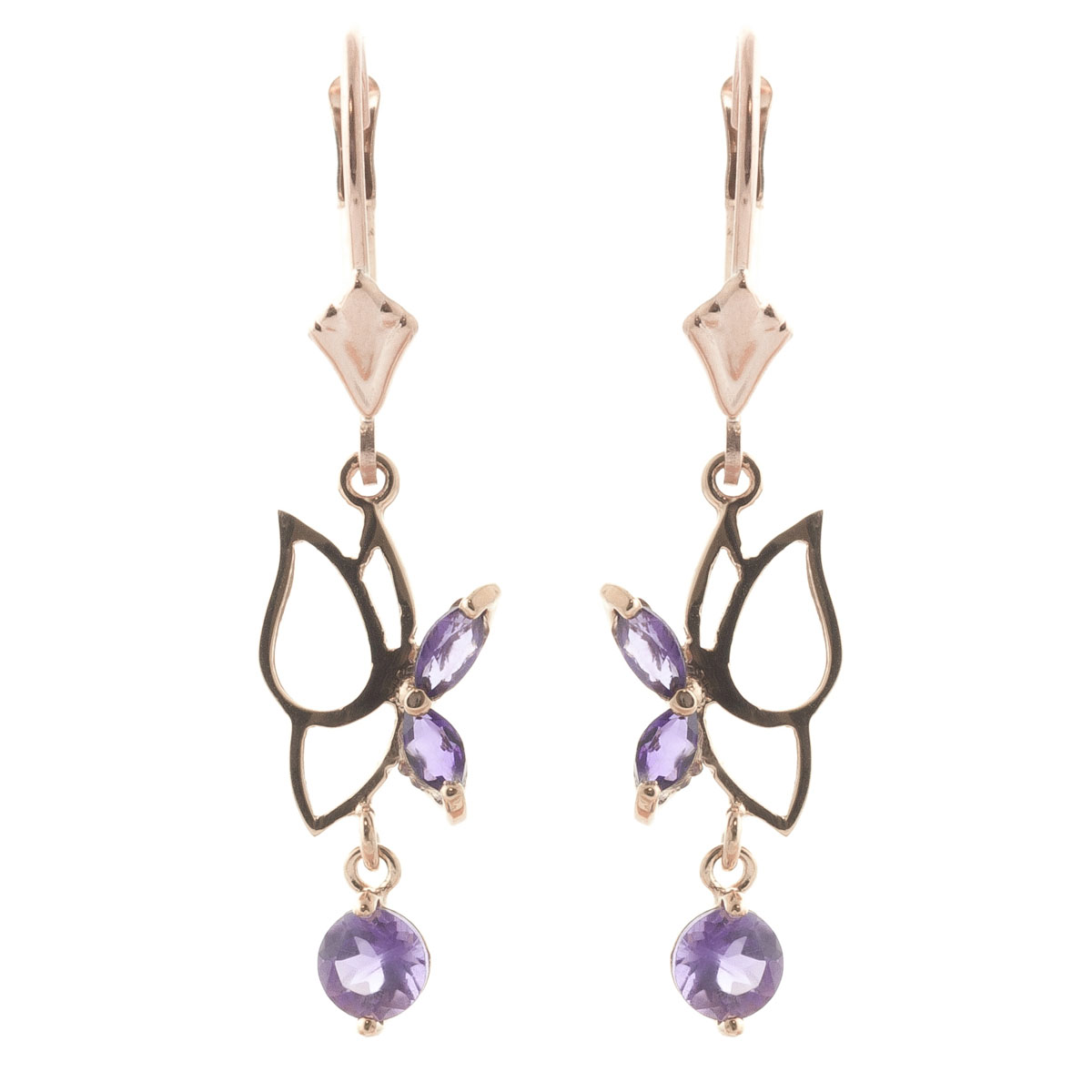 Amethyst Butterfly Drop Earrings 0.35 ctw in 9ct Rose Gold