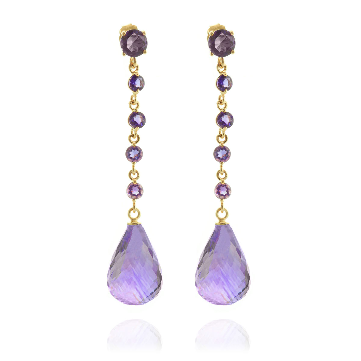 Amethyst by the Yard Drop Earrings 23 ctw in 9ct Gold