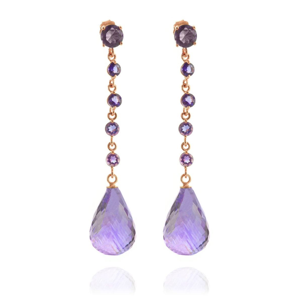 Amethyst by the Yard Drop Earrings 23 ctw in 9ct Rose Gold