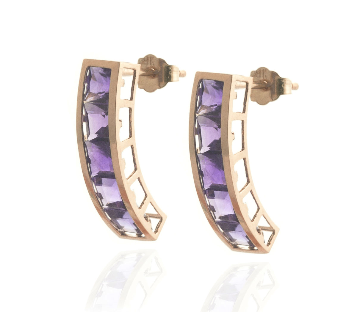 Amethyst Channel Set Stud Earrings 4.5 ctw in 9ct Rose Gold