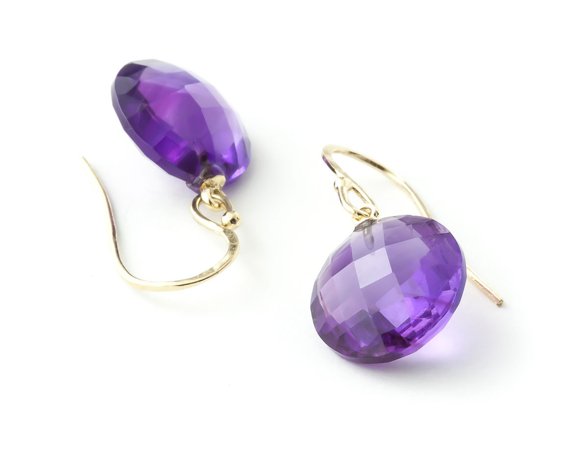 Amethyst Chequer Drop Earrings 12 ctw in 9ct Gold