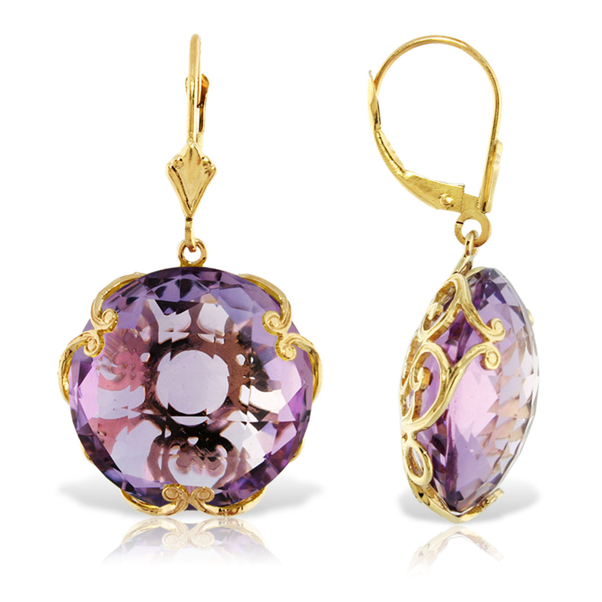Amethyst Chequer Earrings 36 ctw in 9ct Gold