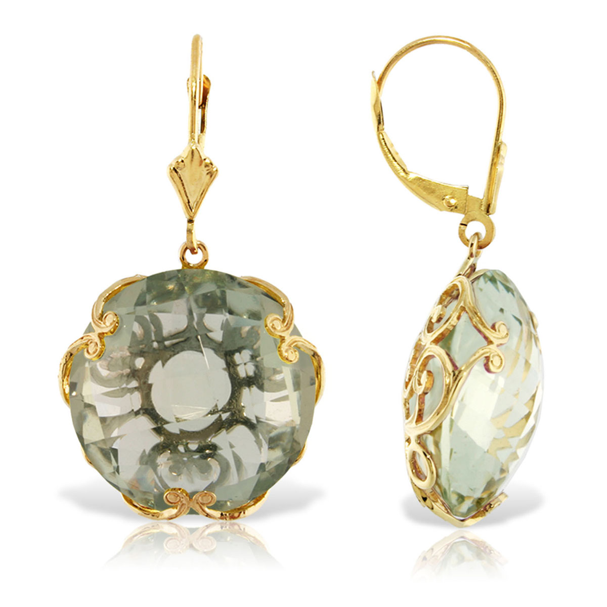 Green Amethyst Chequer Earrings 36 ctw in 9ct Gold