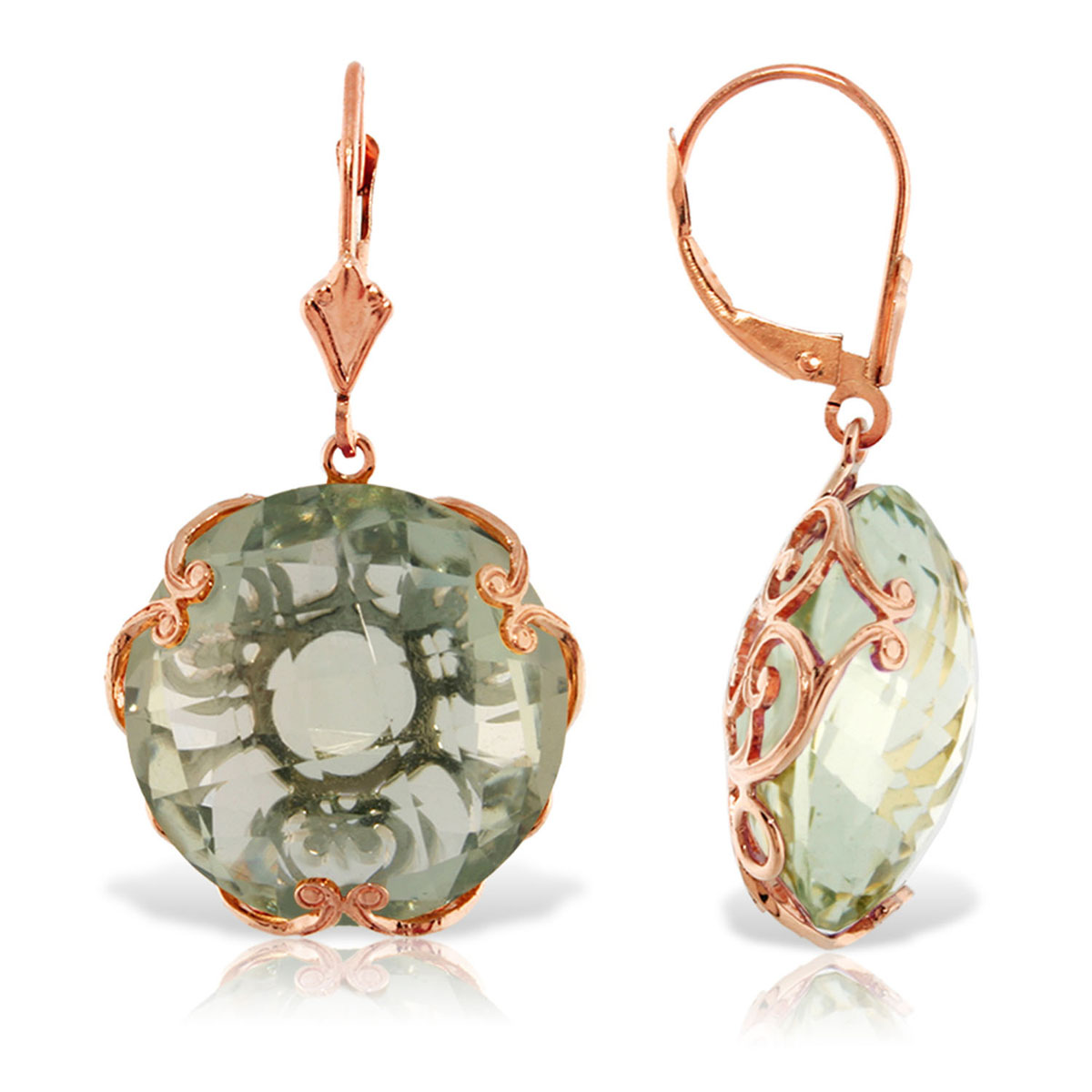 Green Amethyst Chequer Earrings 36 ctw in 9ct Rose Gold