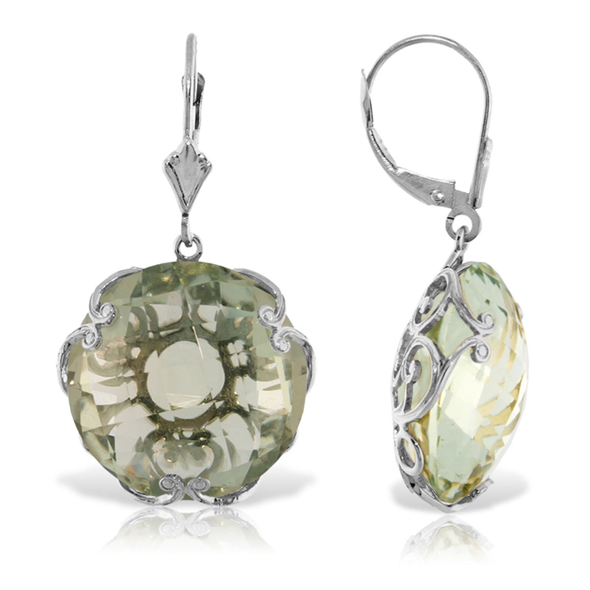 Green Amethyst Chequer Earrings 36 ctw in 9ct White Gold