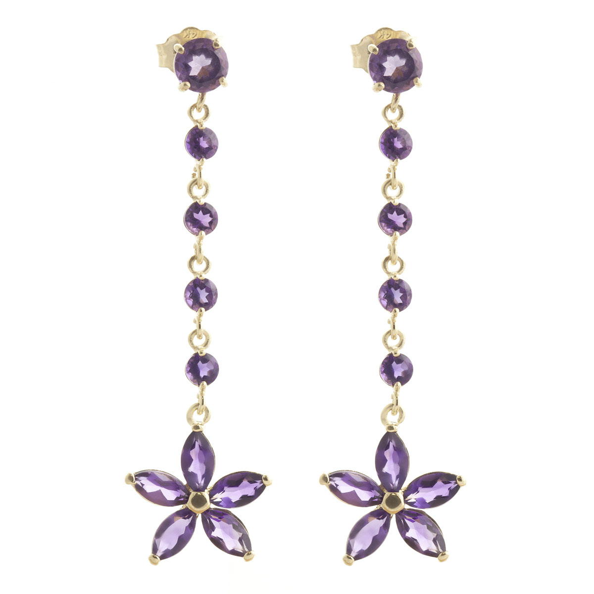 Amethyst Daisy Chain Drop Earrings 4.8 ctw in 9ct Gold