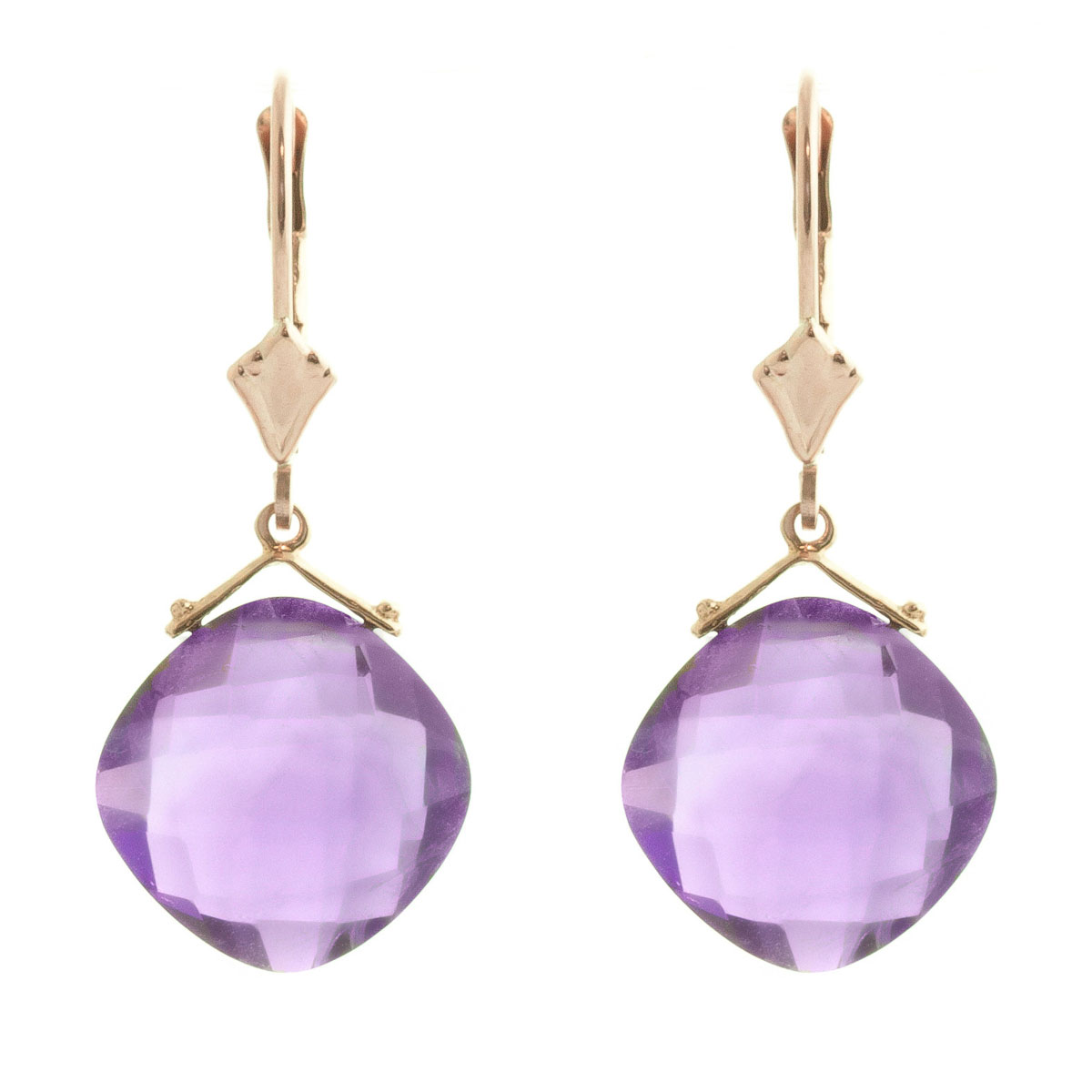 Amethyst Deflection Drop Earrings 17.5 ctw in 9ct Rose Gold