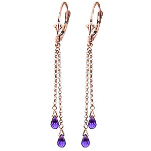 Amethyst Demi Chain Drop Earrings 2.5 ctw in 9ct Rose Gold