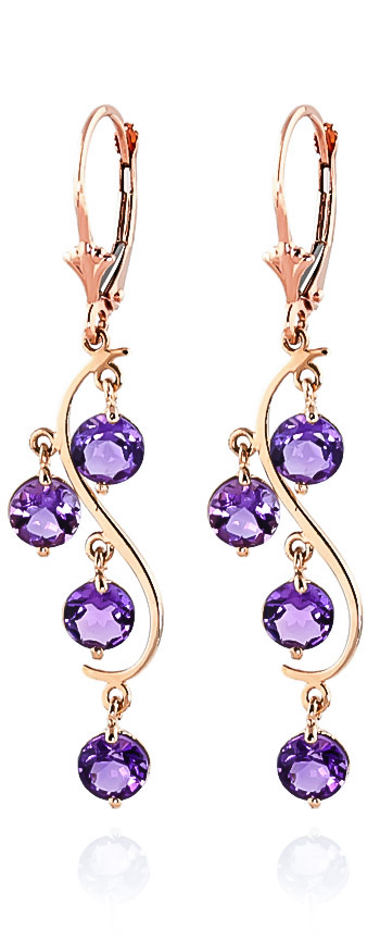 Amethyst Dream Catcher Drop Earrings 4.95 ctw in 9ct Rose Gold