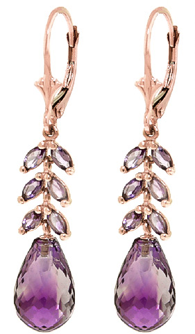 Amethyst Drop Earrings 11.2 ctw in 9ct Rose Gold