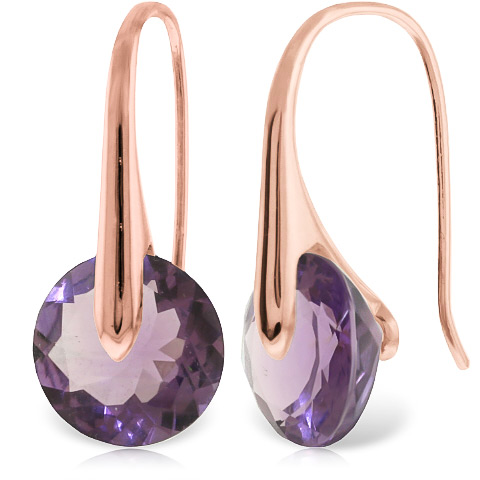 Amethyst Drop Earrings 11.5 ctw in 9ct Rose Gold