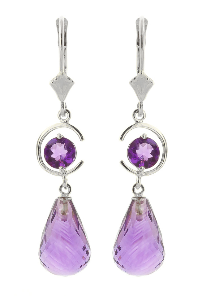 Amethyst Drop Earrings 11 ctw in 9ct White Gold