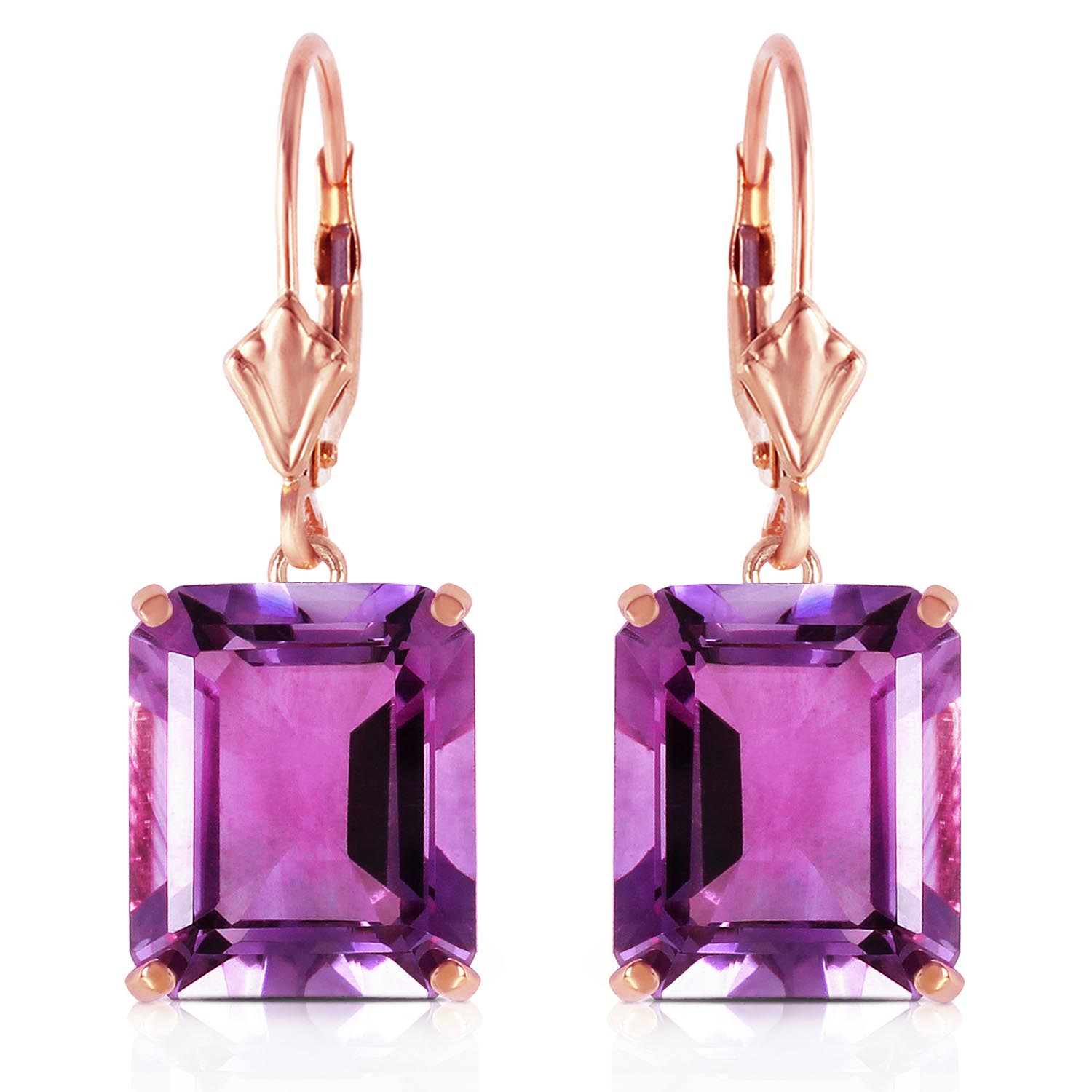 Amethyst Drop Earrings 13 ctw in 9ct Rose Gold