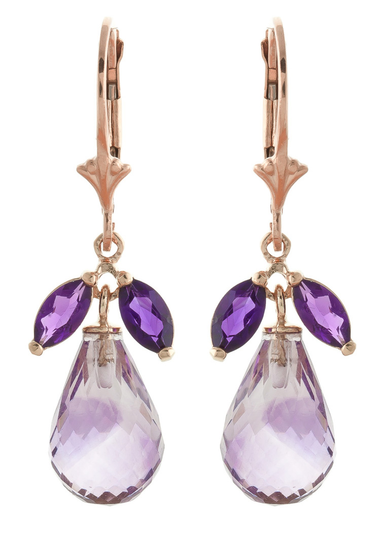 Amethyst Drop Earrings 14.4 ctw in 9ct Rose Gold