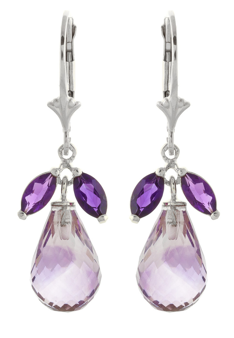 Amethyst Drop Earrings 14.4 ctw in 9ct White Gold