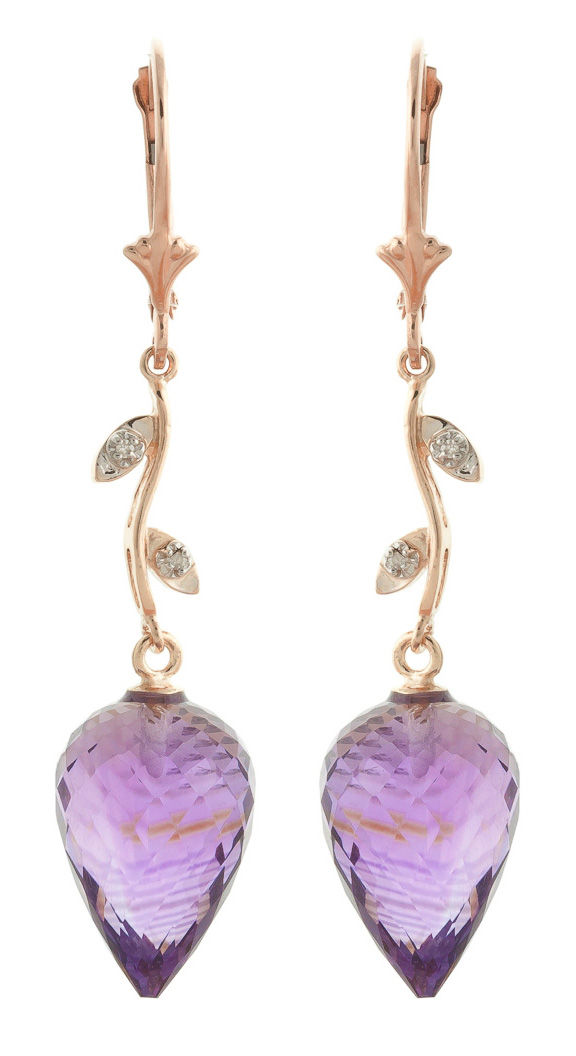 Amethyst Drop Earrings 19.02 ctw in 9ct Rose Gold