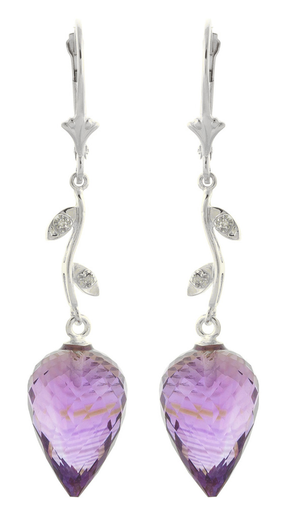 Amethyst Drop Earrings 19.02 ctw in 9ct White Gold