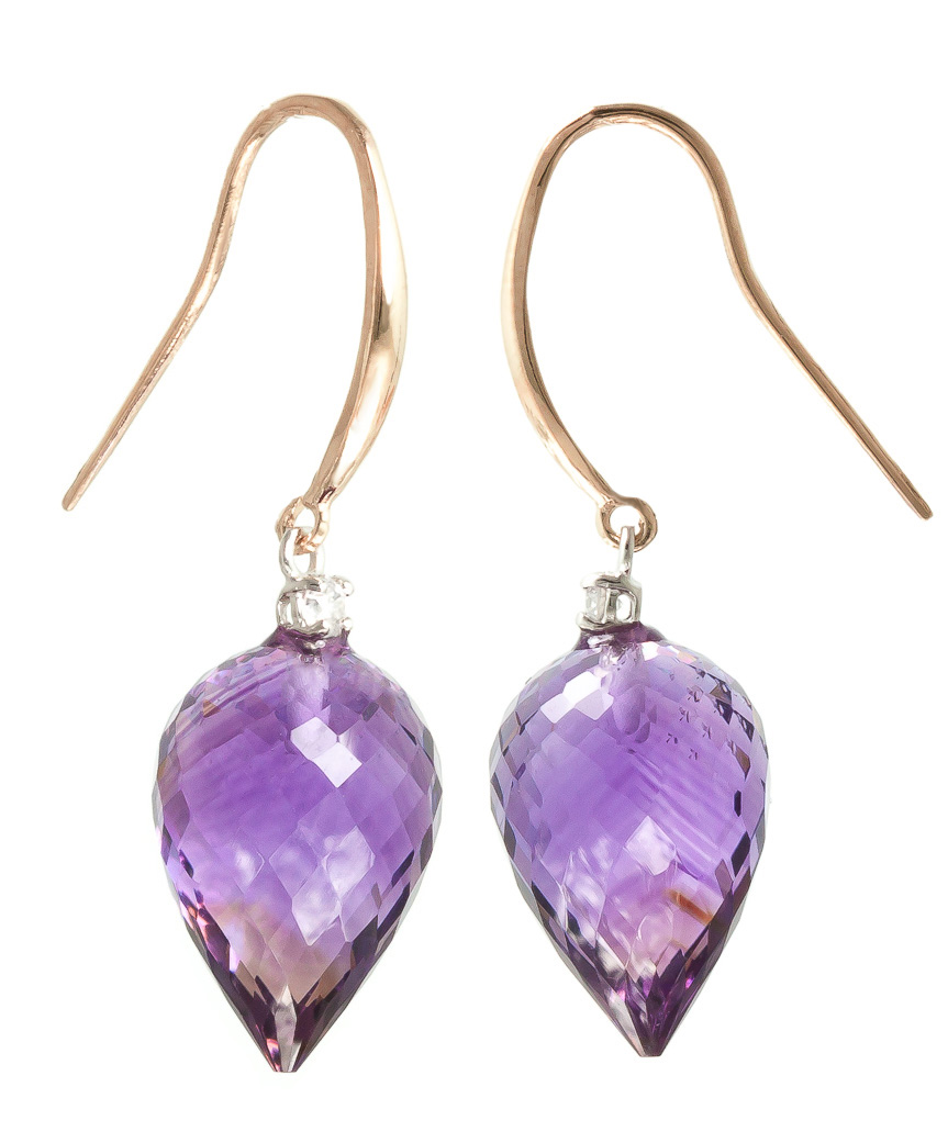 Amethyst Drop Earrings 19.1 ctw in 9ct Rose Gold