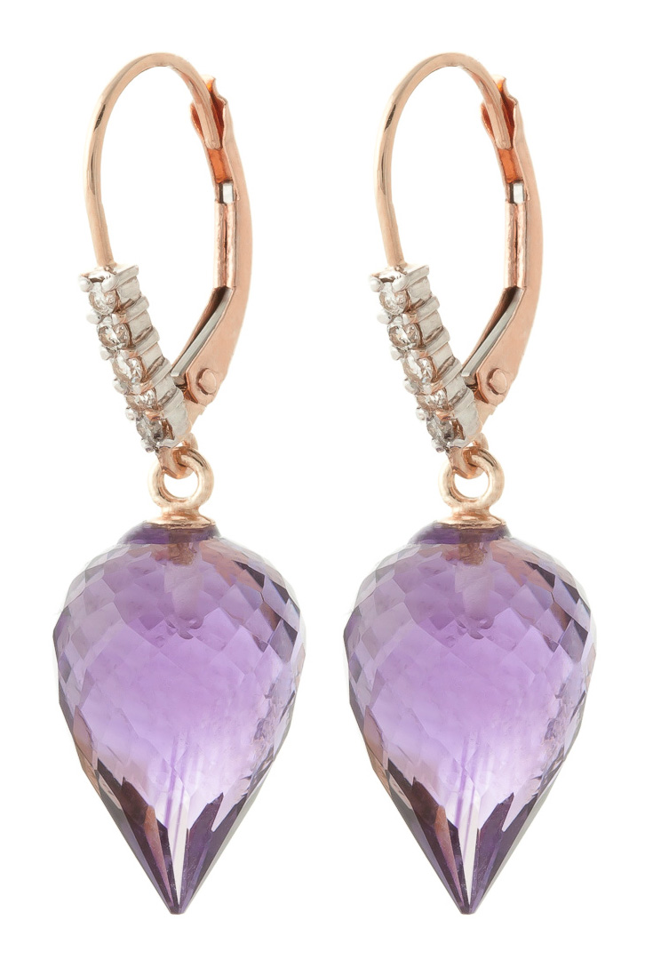 Amethyst Drop Earrings 19.15 ctw in 9ct Rose Gold