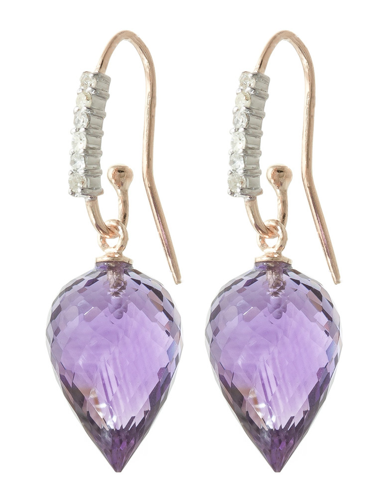 Amethyst Drop Earrings 19.18 ctw in 9ct Rose Gold