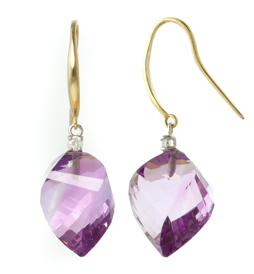 Amethyst Drop Earrings 21.6 ctw in 9ct Gold