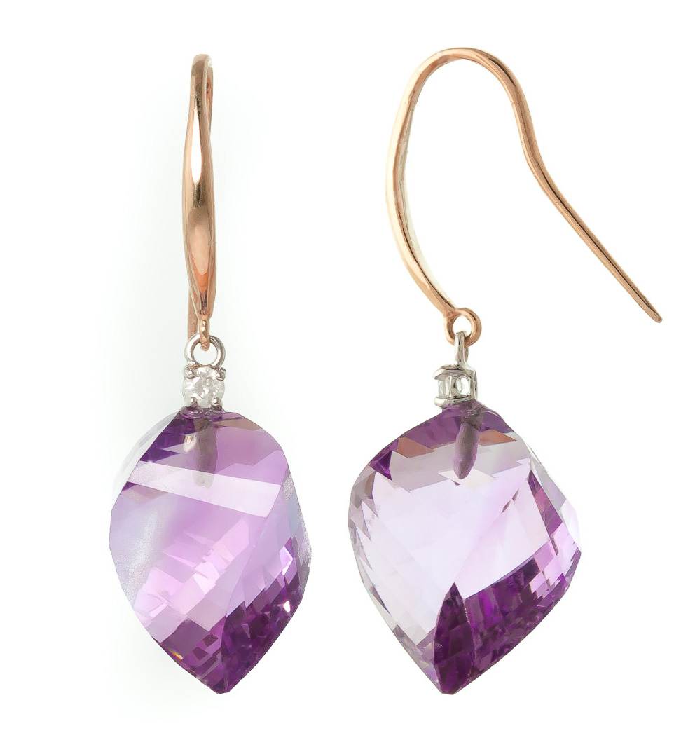 Amethyst Drop Earrings 21.6 ctw in 9ct Rose Gold
