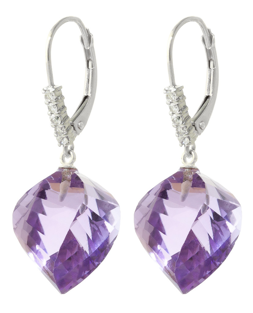 Amethyst Drop Earrings 21.65 ctw in 9ct White Gold