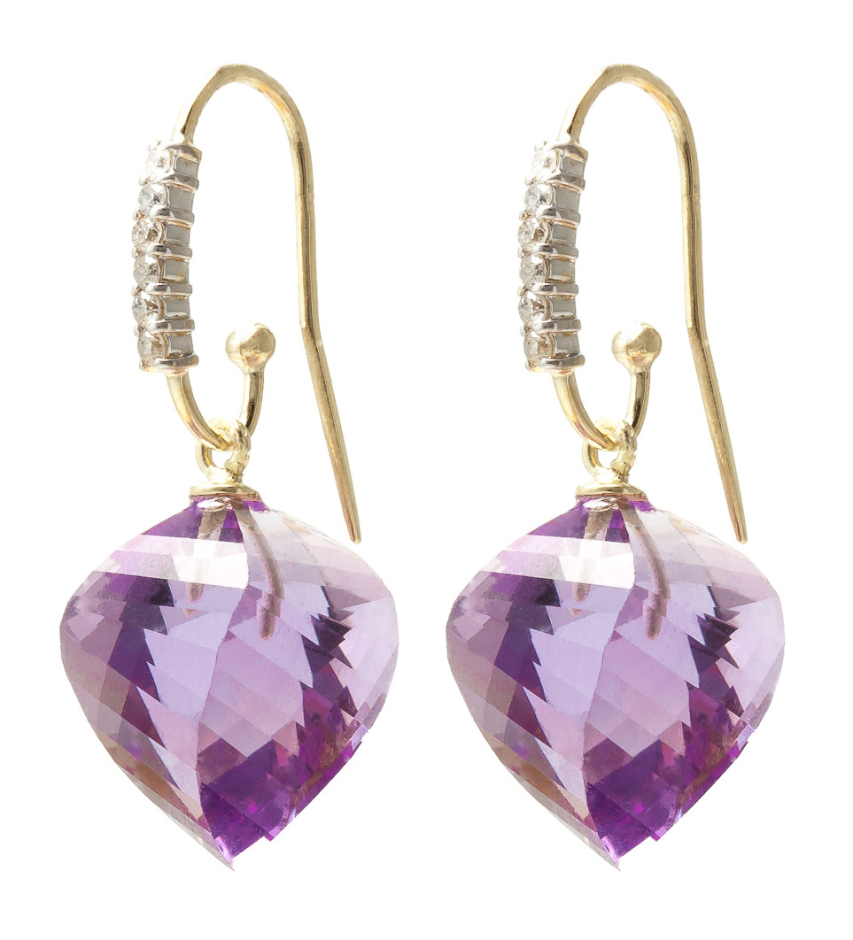 Amethyst Drop Earrings 21.68 ctw in 9ct Gold