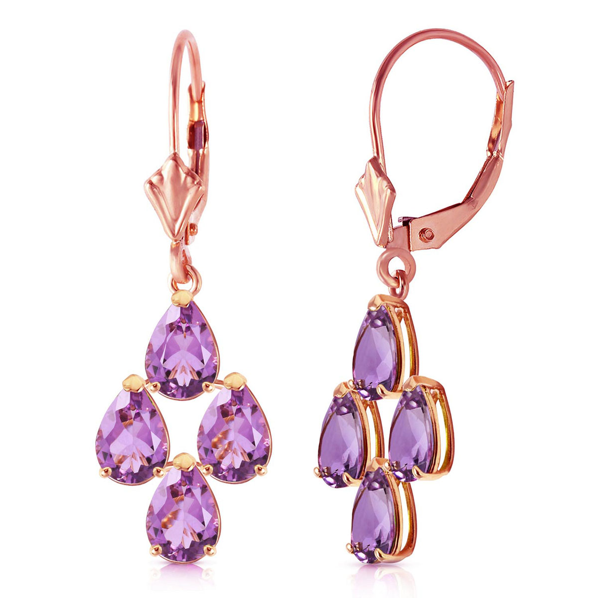Amethyst Drop Earrings 3 ctw in 9ct Rose Gold