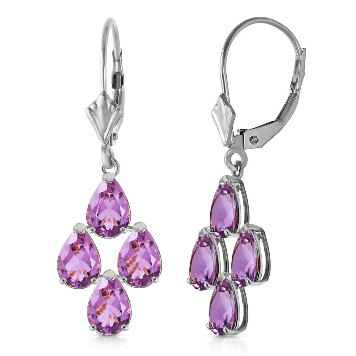 Amethyst Drop Earrings 3 ctw in 9ct White Gold