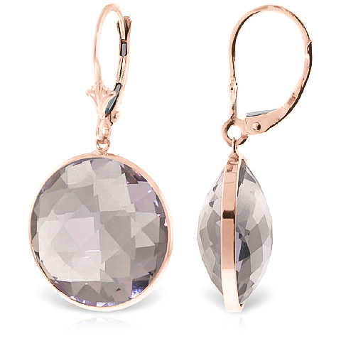 Amethyst Drop Earrings 36 ctw in 9ct Rose Gold