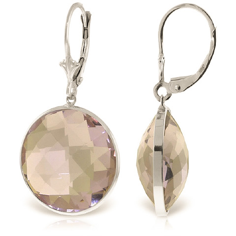 Amethyst Drop Earrings 36 ctw in 9ct White Gold