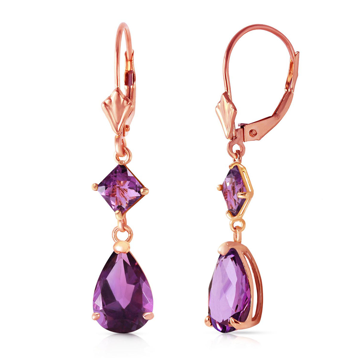 Amethyst Droplet Earrings 4.5 ctw in 9ct Rose Gold