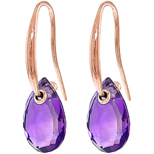Amethyst Droplet Earrings 8 ctw in 9ct Rose Gold