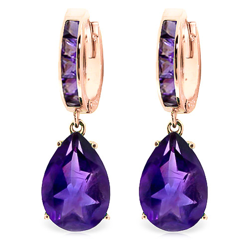 Amethyst Droplet Huggie Earrings 13.2 ctw in 9ct Rose Gold