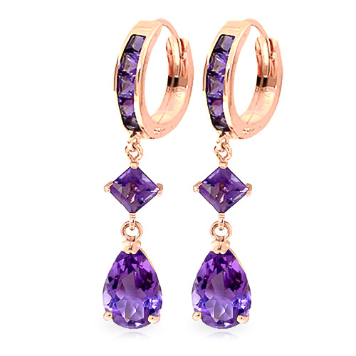 Amethyst Droplet Huggie Earrings 5.62 ctw in 9ct Rose Gold