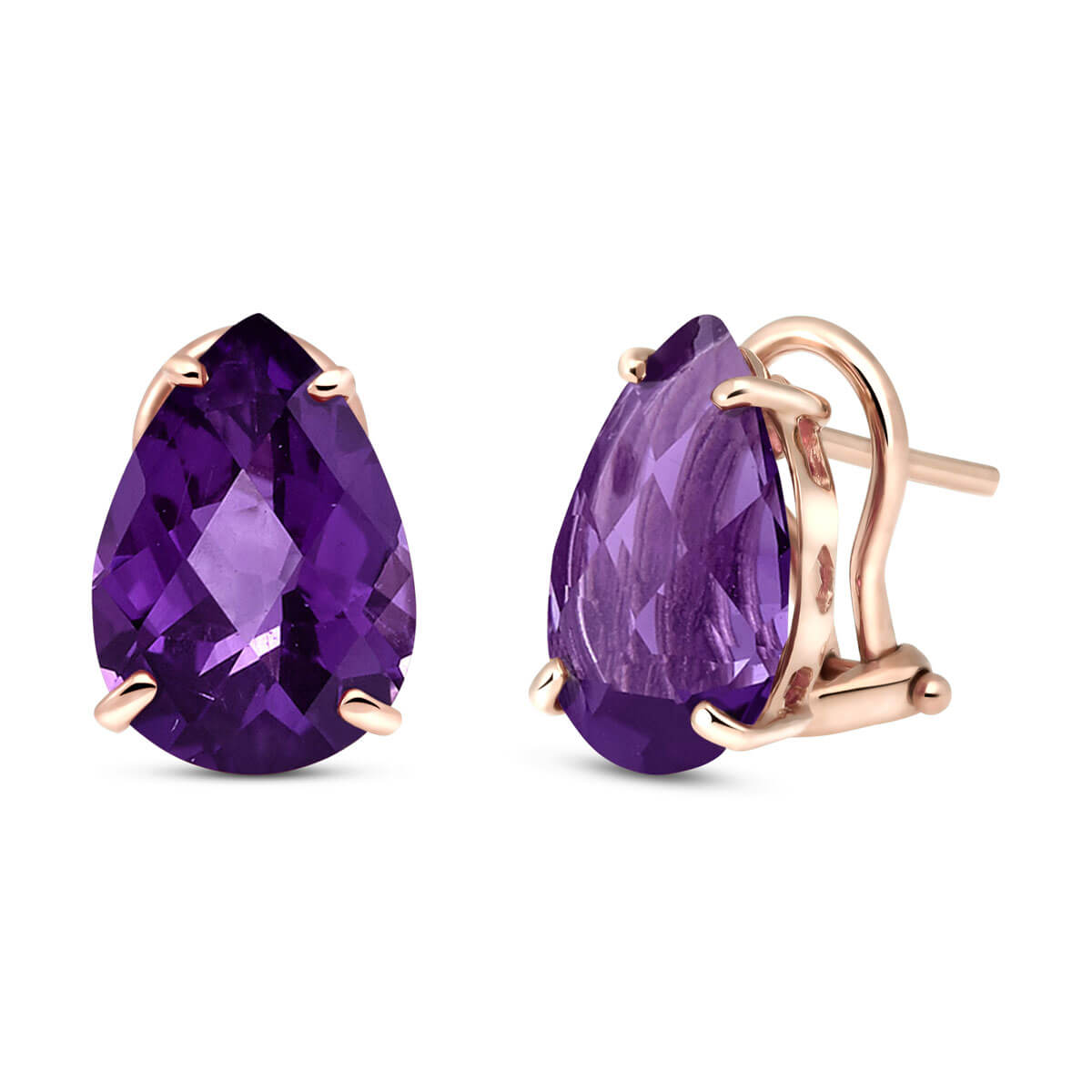 Amethyst Droplet Stud Earrings 10 ctw in 9ct Rose Gold