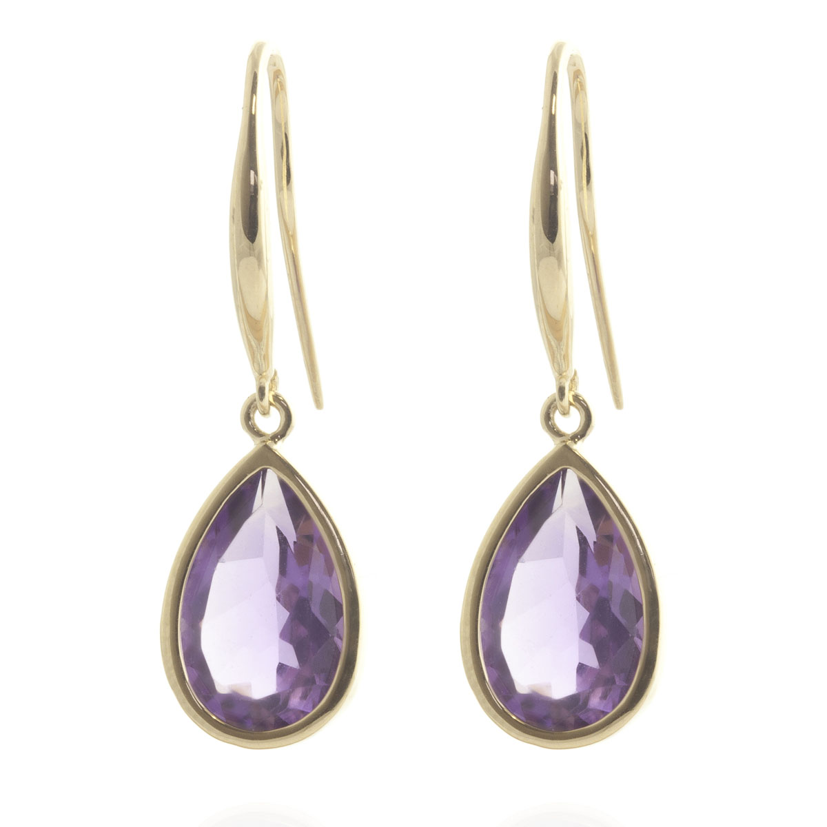 Amethyst Elliptical Drop Earrings 5 ctw in 9ct Gold