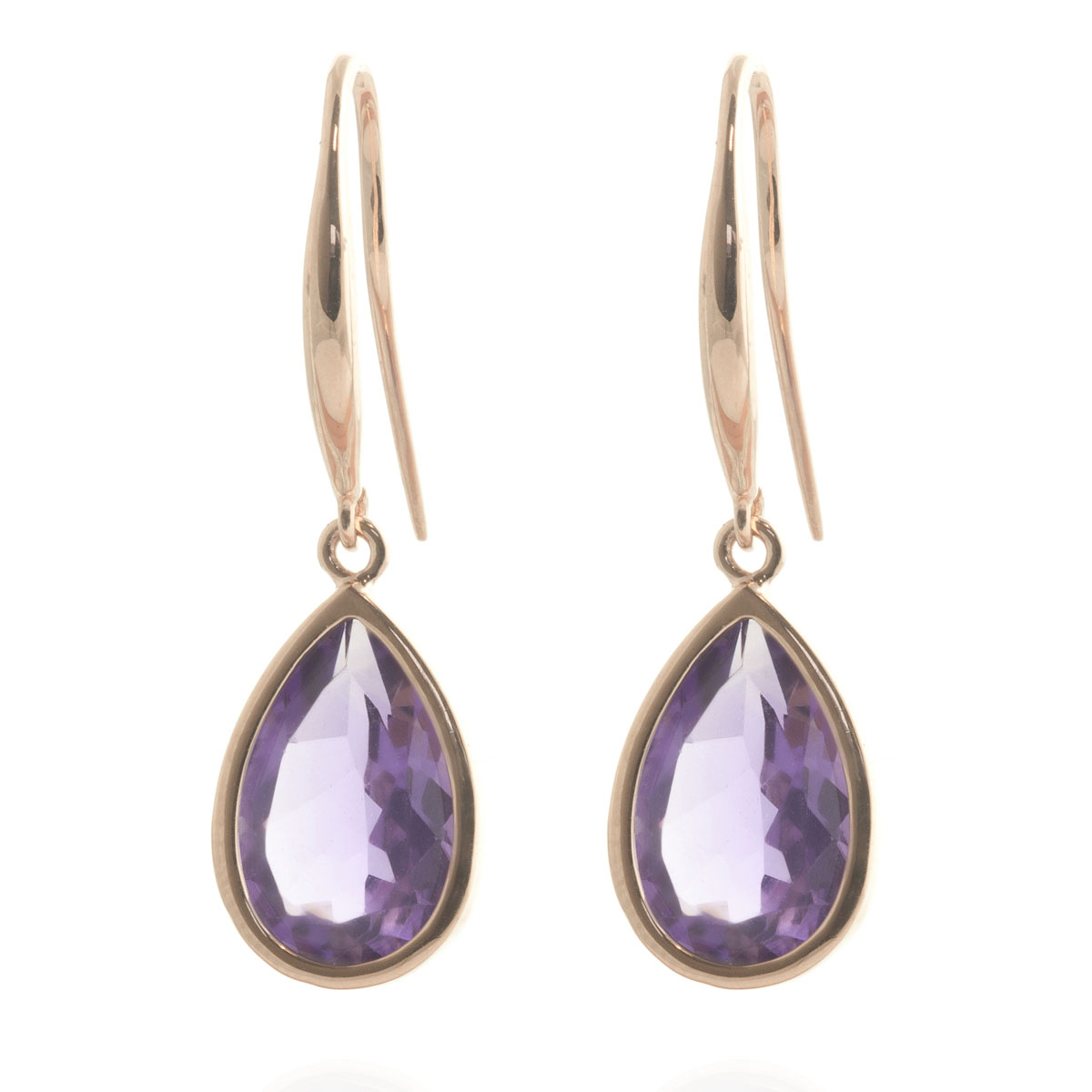 Amethyst Elliptical Drop Earrings 5 ctw in 9ct Rose Gold