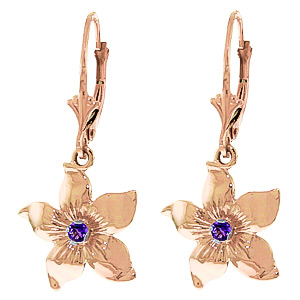 Amethyst Flower Star Drop Earrings 0.2 ctw in 9ct Rose Gold