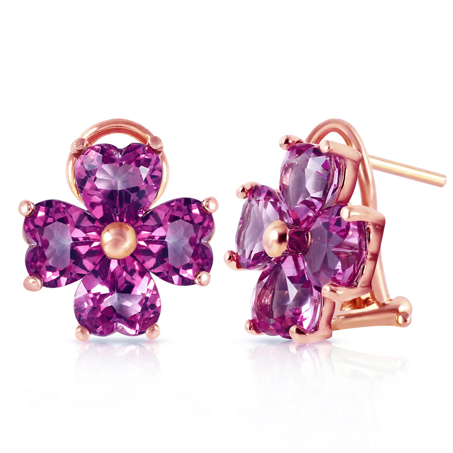 Amethyst Flower Stud Earrings 6.5 ctw in 9ct Rose Gold