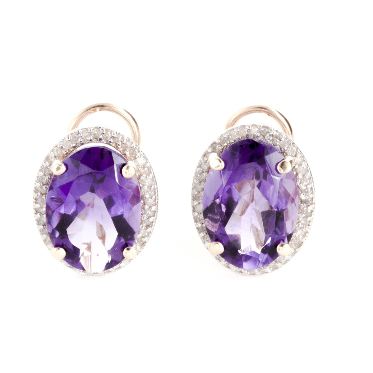 Amethyst French Clip Halo Earrings 10.56 ctw in 9ct Rose Gold