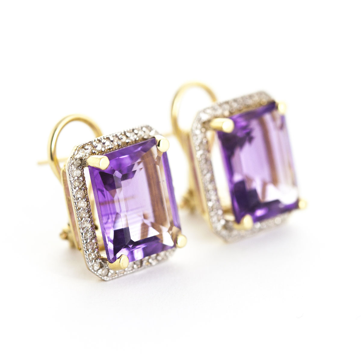 Amethyst French Clip Halo Earrings 11.6 ctw in 9ct Gold