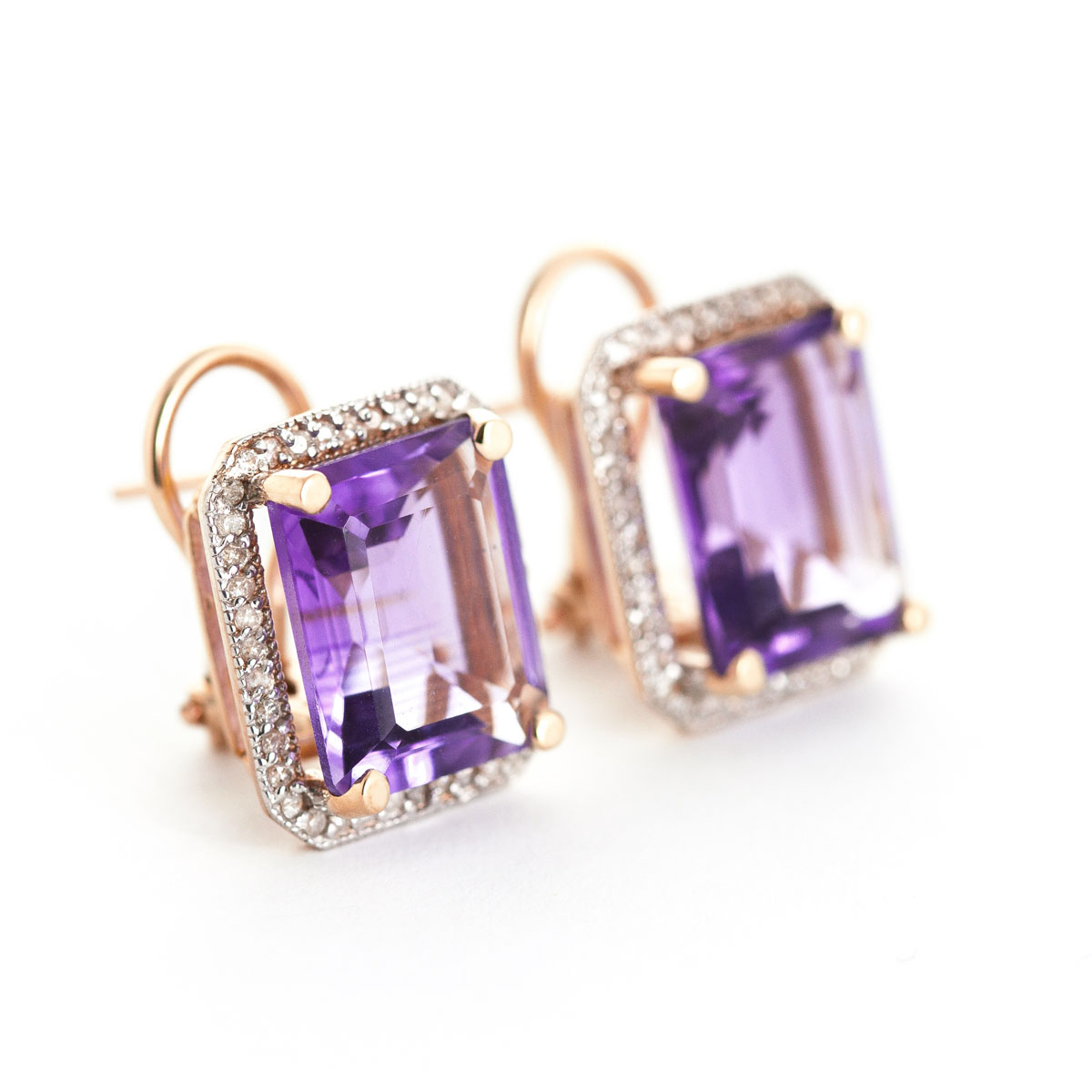 Amethyst French Clip Halo Earrings 11.6 ctw in 9ct Rose Gold