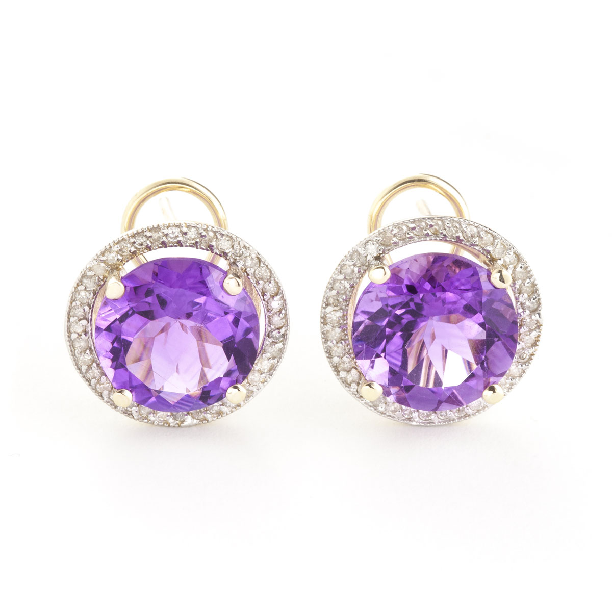 Amethyst French Clip Halo Earrings 12.4 ctw in 9ct Gold