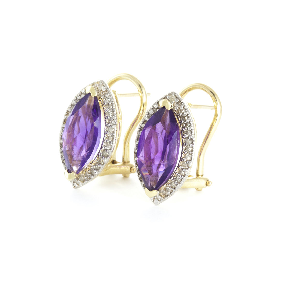 Amethyst French Clip Halo Earrings 3.6 ctw in 9ct Gold