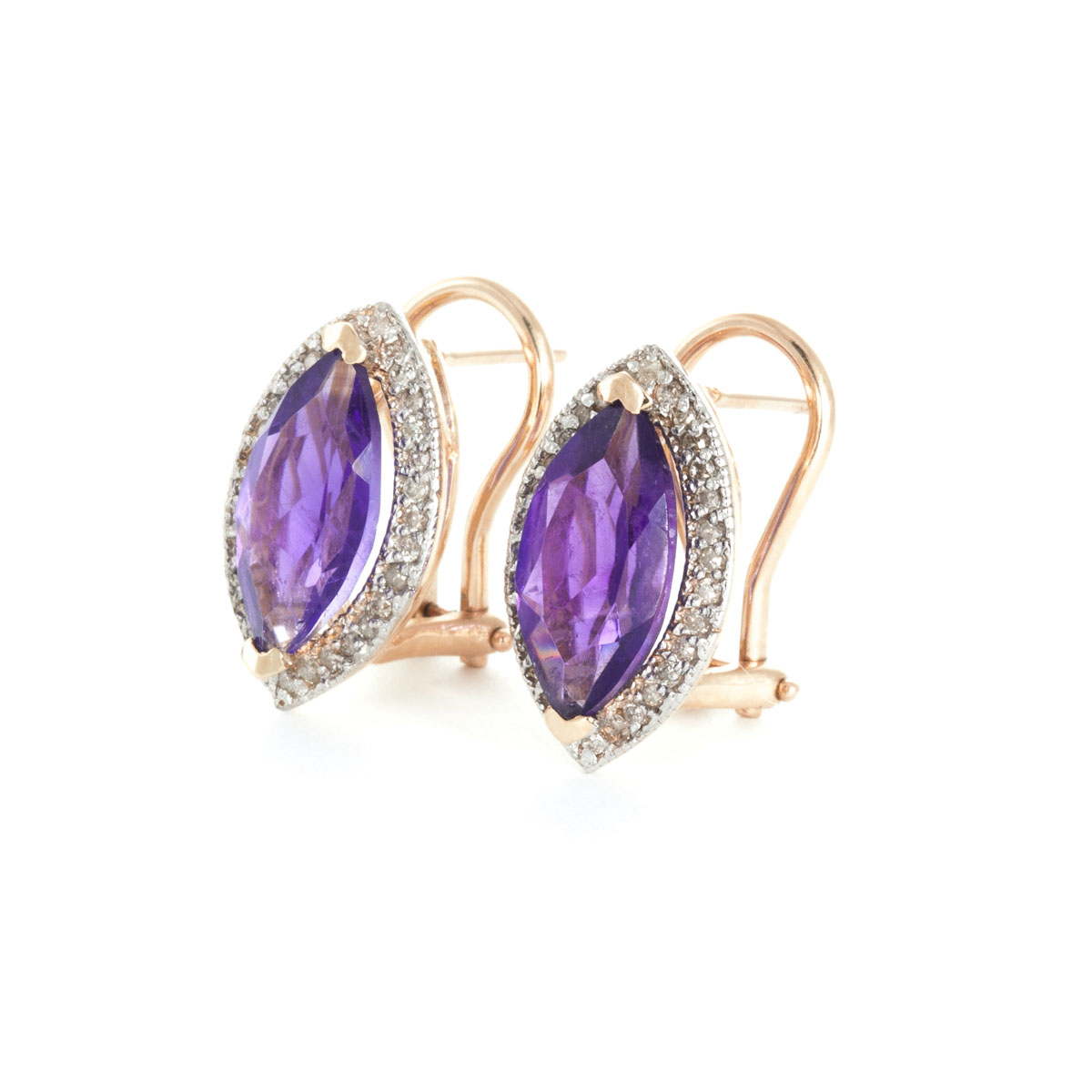 Amethyst French Clip Halo Earrings 3.6 ctw in 9ct Rose Gold