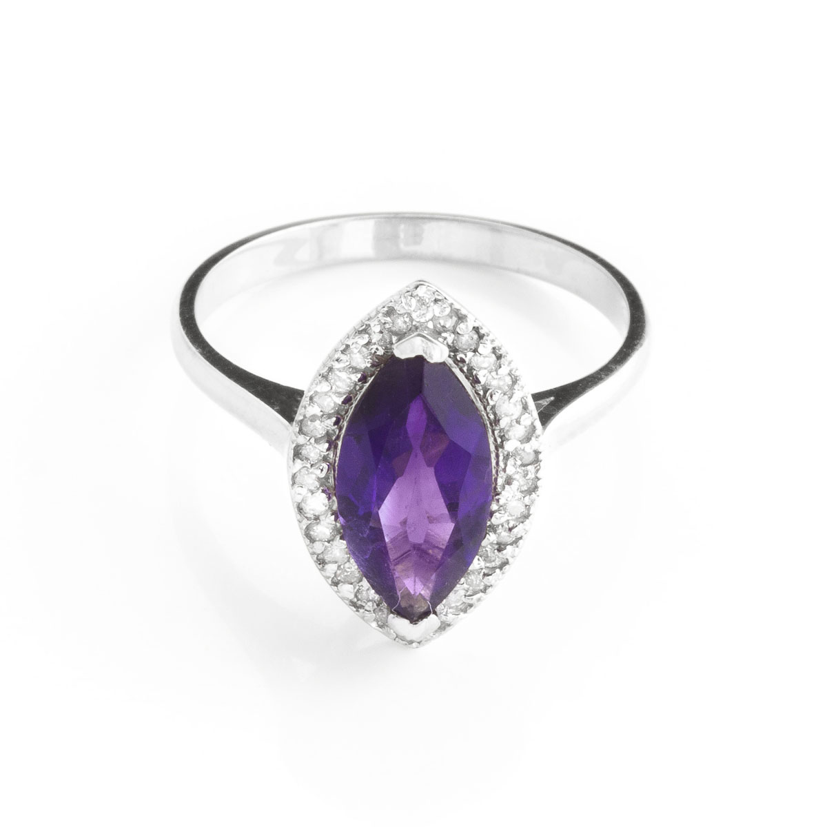 Amethyst Halo Ring 1.8 ctw in 9ct White Gold