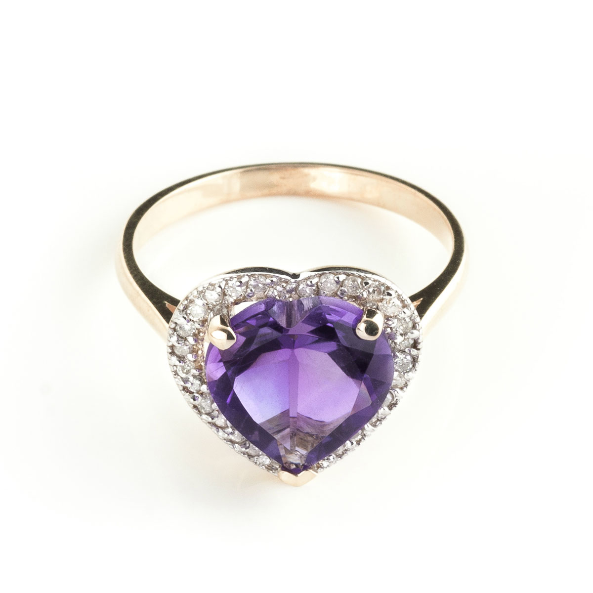 Amethyst Halo Ring 3.24 ctw in 18ct Rose Gold